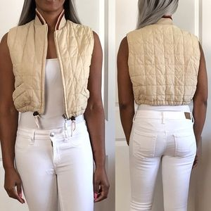 Quilted Cropped Ivory Vest